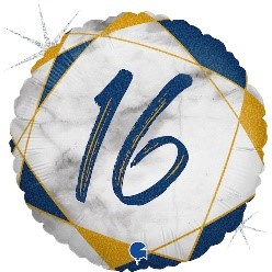"""Print of """"16"""" on Marble Blue 18"""" Foil Balloon"""