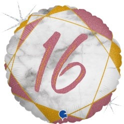 """Print of """"16"""" on Marble Rose Gold 18"""" Foil Balloon"""