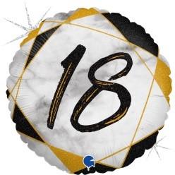 "Print of ""18"" on Marble Black 18"" Foil Balloon"
