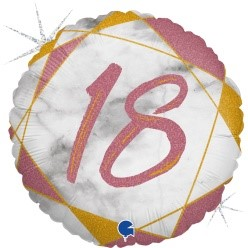 """Print of """"18"""" on Marble Rose Gold 18"""" Foil Balloon"""
