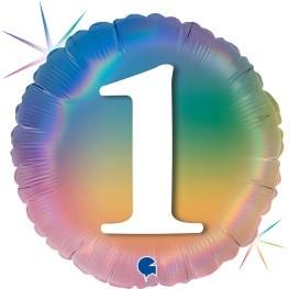 """Print of """"1"""" on Rainbow Coloured 18"""" Foil Balloon"""