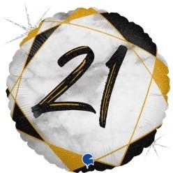"Print of ""21"" on Marble Black 18"" Foil Balloon"