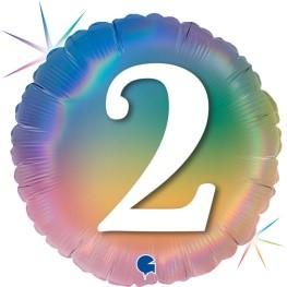 """Print of """"2"""" on Rainbow Coloured 18"""" Foil Balloon"""