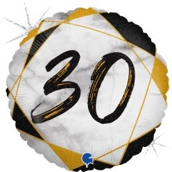"Print of ""30"" on marble Black 18"" Foil Balloon"