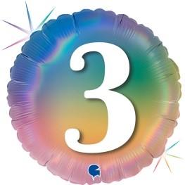 """Print of """"3"""" on Rainbow Coloured 18"""" Foil Balloon"""