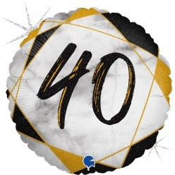 "Print of ""40"" on Marble Black 18"" Foil Balloon"