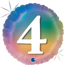 """Print of """"4"""" on Rainbow Coloured 18"""" Foil Balloon"""