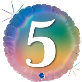 """Print of """"5"""" on Rainbow Coloured 18"""" Foil Balloon"""