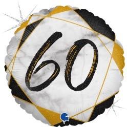 "Print of ""60 on Marble Black 18"" Foil Balloon"