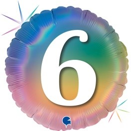 """Print of """"6"""" on Rainbow Coloured 18"""" Foil Balloon"""