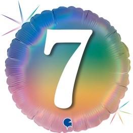 """Print of """"7"""" on Rainbow Coloured 18"""" Foil Balloon"""