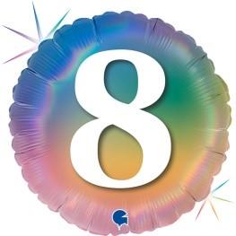 """Print of """"8"""" on Rainbow Coloured 18"""" Foil Balloon"""