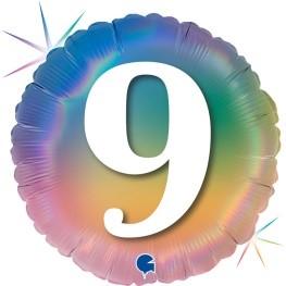 """Print of """"9"""" on Rainbow Coloured 18"""" Foil Balloon"""