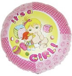 """Print of """"It's a Girl"""" on 18"""" on Foil Balloon"""