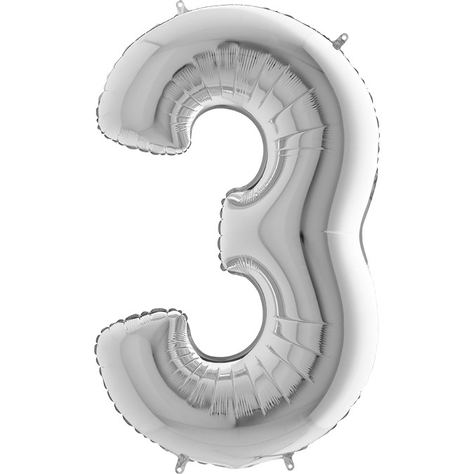 arge Number Three Balloon Silver