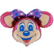 Foil Balloon Shape Mouse Head Pink