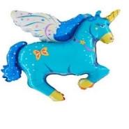 Foil Balloon Shape Unicorn Blue